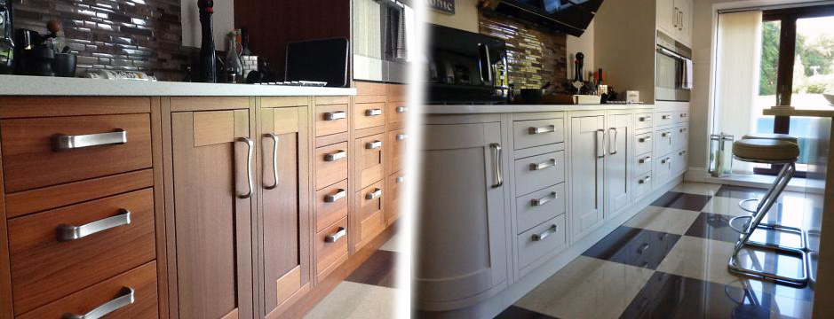Before and after shot of refurbished kitchen, nr. Totnes
