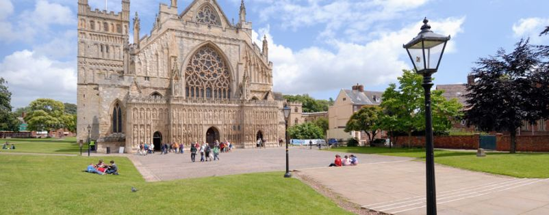 Revitalised lamp-posts at Exeter Cathedral